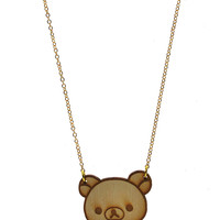 Rilakkuma Face Necklace in Birch Wood