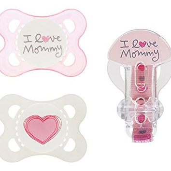 MAM Love & Affection Orthodontic Pacifier with Clip Value Pack, I Love Mommy, Girl 0-6 Months, 2-Count