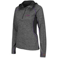 LSU Tigers Colosseum Women's 1/4 Zip Hooded Wind Jacket - Charcoal