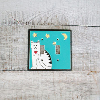 Double Light Switch Cover Ceramic Light Switch Cover Cat Lightswitch Plate Cottage Chic Double Light Switch Cover Animal Decor