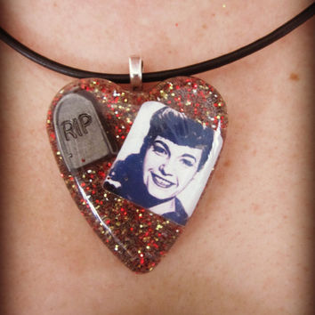 Bettie Page RIP Tribute Heart Tombstone Necklace
