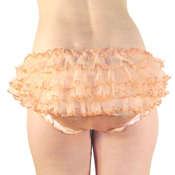 Burlesque Retro Style Frilly Knicker Silky Satin Frothy French Knickers Black