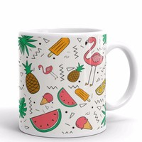 Flamingos, Pineapples and Watermelon Mug