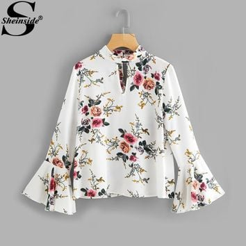 Sheinside Floral Print V Neck Flare Sleeve Double Keyhole Blouse Band Collar Long Sleeve Sexy Ruffle Top 2017 Elegant Blouse