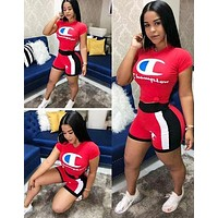 Champion Fashion Woman Casual Print Short Sleeve Top Shorts Set Two Piece Red