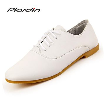 plardin 2018 Woman ballet flats pointed toe Solid lace up leather shoes Fashion Leisure women shoes