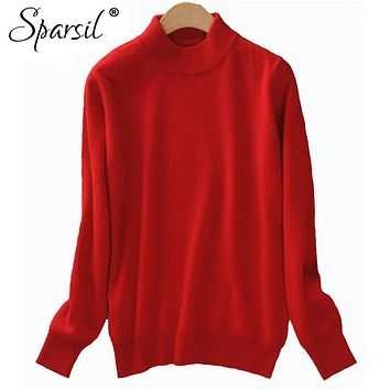 Sparsil 2017 Cashmere Blend Sweater Women Christmas Knitted Sweater Tops Female Long Sleeve Autumn Winter Turtleneck Pullovers