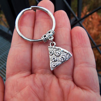 Pizza Keychain slice of pizza pie charm ornament key ring key chain