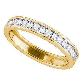 14kt Yellow Gold Womens Round Baguette Diamond Single Row Wedding Band 1/2 Cttw