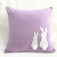 Two Little Lovely Rabbits Lilac Pillow Cover. Bunny Cushion Cover