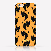 Halloween Spooky Black Cat Pattern iPhone Case