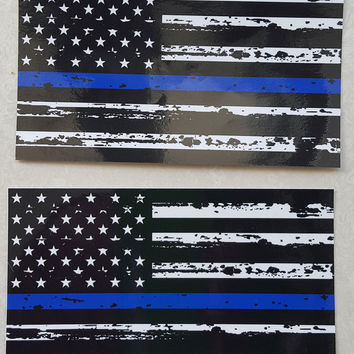 """TATTERED Thin Blue Police respect flag Vinyl Decal Sticker 5""""X 3"""" Pack of 2 USA"""