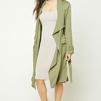 Draped Self-Tie Trench Coat