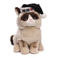 GRUMPY CAT HOLIDAY WITH BLACK SANTA HAT
