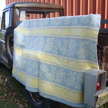 Vintage AaBe Wool Blanket Blue Yellow Cream