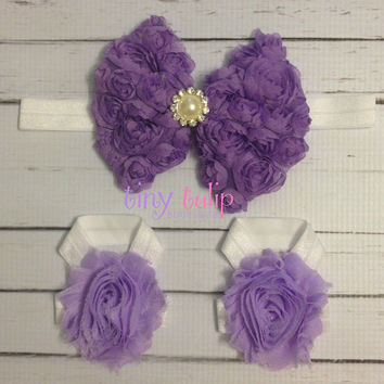 Baby Barefoot Sandals...Purple Bow Barefoot Sandals Headband Set...Purple and White Headband Set