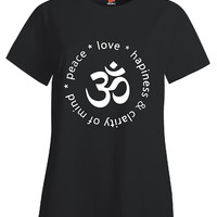 Peace Love Hapiness And Charity Of Mind OM Yoga Design - Ladies T Shirt