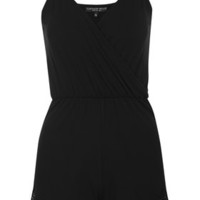 PETITE Strappy Lace Playsuit - Black