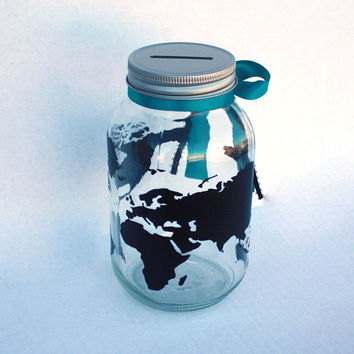 Globe Bank, World Travels Fund, Vacation Savings Bank, Customizable Mason Jar, Coin Slot Lid, Trip Fund, Vacation Piggy Bank, Personalized