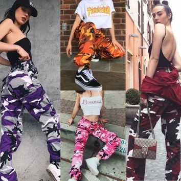 Spice girl camo color style joggers pants