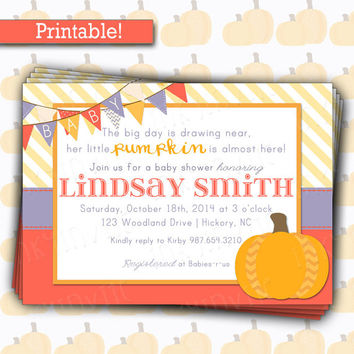 Cute Little Pumpkin Baby Shower Invitation | Baby Girl Pumpkin Shower Invite |  Fall Bright Colors Invite