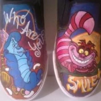 SALE Custom Alice In Wonderland Cheshire Cat and Hookah Smoking Caterpillar Vans Conve