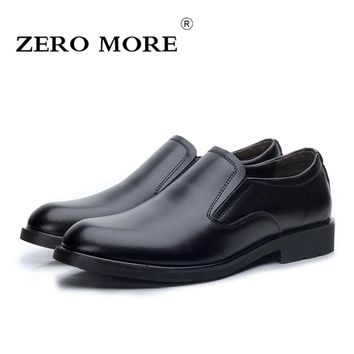 ZERO MORE Slip On Men Shoes Split Leather Casual Fashion Pointed Toe Loafers Men Dress Business Solid Formal Men's Shoes Black