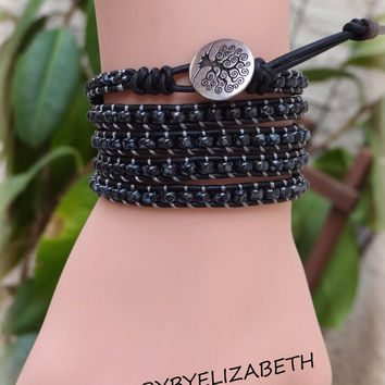 Tree Of Life Seed Beed Leather Wrap Bracelet, Black Wrap Bracelet, Beaded Leather Wrap.
