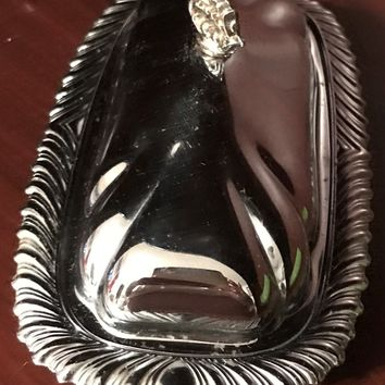 Butter Dish with Cover Silver Plated Vintage Used Made in USA