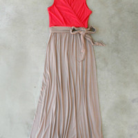 Coral Beach House Maxi Dress [5029] - $45.00 : Vintage Inspired Clothing & Affordable Dresses, deloom | Modern. Vintage. Crafted.