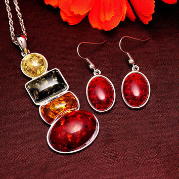 Women's Vintage Retro Silver Plated Amber Wedding Jewelry Sets Chain Necklace Earrings sets Gifts Free shipping