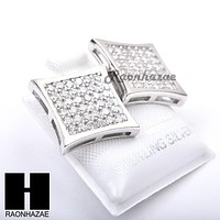 Iced Out Sterling Silver .925 Lab Diamond 14mm Square Screw Back Earring SE025S