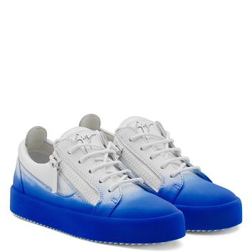 Giuseppe Zanotti Gz New Unfinished White Calfskin Leather Low-top Sneaker With Blue Flocking Patina