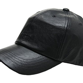 B121 New Faux Leather Design Simple Visor Coating Ball Cap Baseball Hat Truckers (Black)