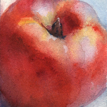 "Artist Trading Card ACEO Original watercolor painting, fruit, ""Nectarine"" paper"