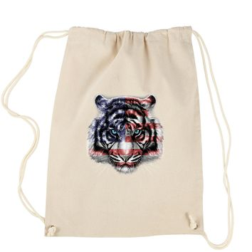 American White Tiger USA Flag Drawstring Backpack