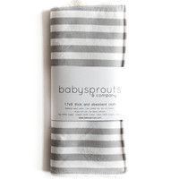 Burp Cloth Gray Stripes