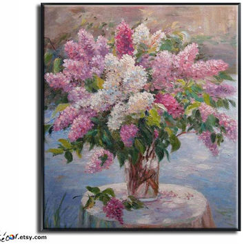 "24"" Flower Painting, Impression Floral Oil On Linen Canvas, By Frank."