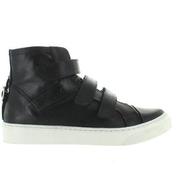 J Slides Prima   Black Leather Triple Strap High Top Sneaker