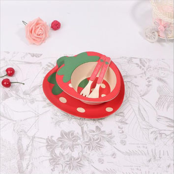 Bamboo fiber children utensils sets health baby cartoon strawberry creative tableware bowl plate spoon fork free shipping