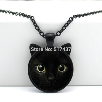 2016 New Black Cat Pendant Cat Face Necklace Cat Ear Jewelry Girls Glass Cabochon Necklace CN-00327