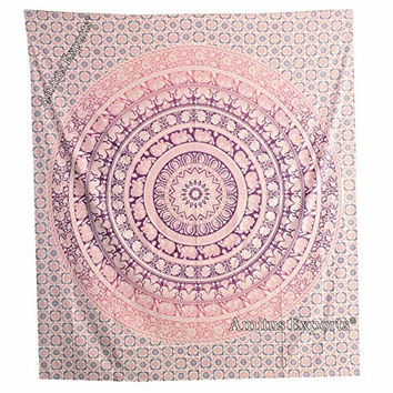 """Amitus Exports ® 1 X Round Dome Elephant Ombre 90""""x80"""" Approx. Inches Purple Pink Color Queen Size Cotton Fabric Multi-Purpose Handmade Tapestry Hippy Indian Mandala Throws Bohemian Tapestries"""