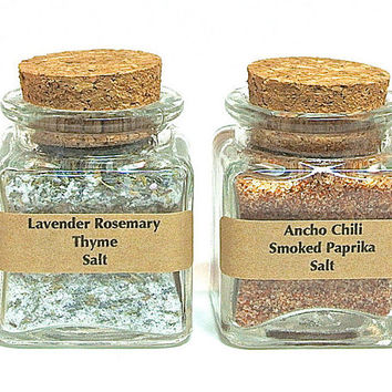 Flavored Sea Salt Set- 2 Gourmet Sea Salt Blends in Mini Square Jar with Cork, Favors, Finishing Salt, Seasoning Gift Set, Sea Salt Set
