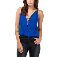 Deep V Cami Top In Blue
