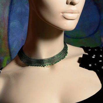 Adjustable Choker Necklace, Wire Crochet Lacy Green Choker with Venetian Beads Valentines gift