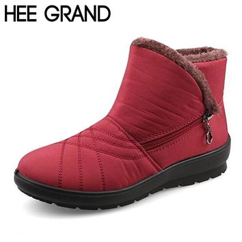 HEE GRAND Waterproof Flexible Cube Woman Boots High Quality Cozy Fur Side Zip Snow Boots Winter Shoes Woman Plus Size 42 XWX5015