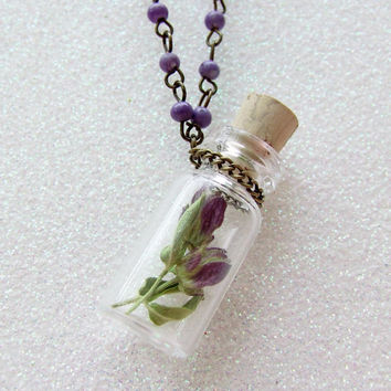 Bottle Necklace - Real Flower Necklace - Pair of Botanical Specimens - Wildflower Necklace - Real Flowers in a Bottle Necklace