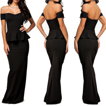Black Off Shoulder Peplum Maxi Dress