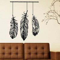 Feathers Wall Decal Vinyl Sticker Tribal Housewares Wall Decor Modern Interior Art Design Mural For Living Room Fashion Bedroom Decor C040