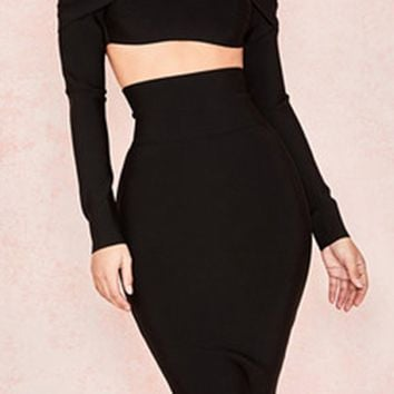 1385cba088b85 Double Dare Black Long Sleeve Off The Shoulder Crop Top Bodycon Bandage Two  Piece Midi Dress